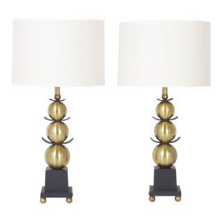 Mid-Century Stacked Ball Table Lamps - A Pair For Sale