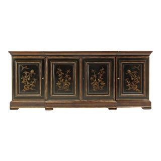 Two Tone Chinoiserie Four Doors Drexel Server Cabinet For Sale