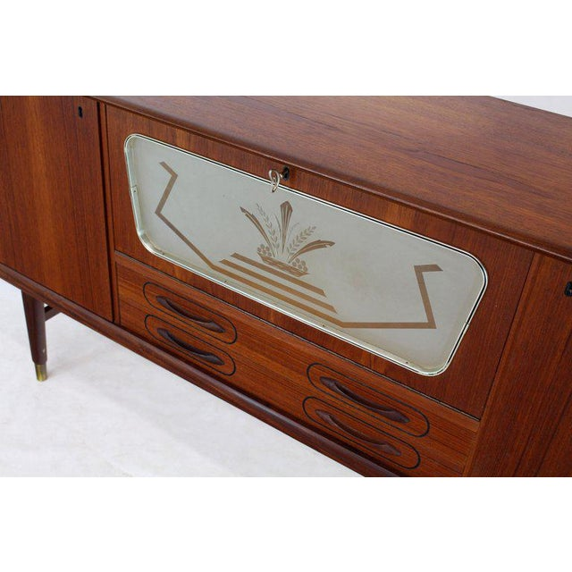 Brown Danish Teak Long Sideboard Credenza With Art Deco Style Etched Glass Insert For Sale - Image 8 of 11