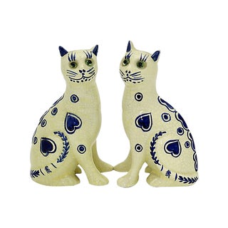 Art Deco French Faience Cats - a Pair For Sale