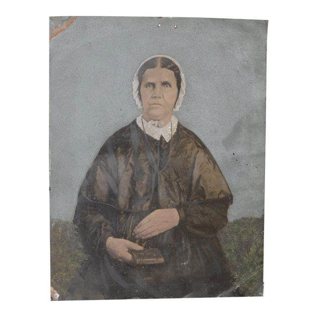 19th Century Portrait of a Woman on Tin For Sale