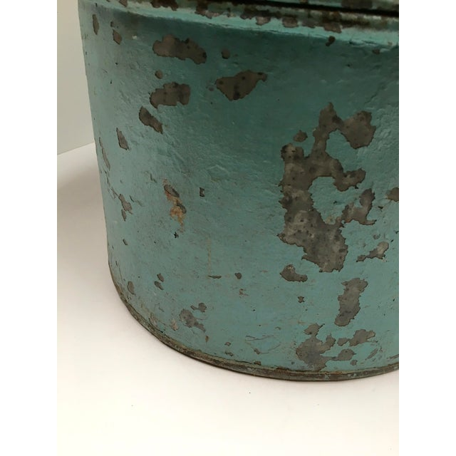 Vintage Painted Metal Oval Hat Box - Image 6 of 8