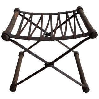 "Neoclassic ""Rough Luxe"" Iron and Wooden Stool For Sale"
