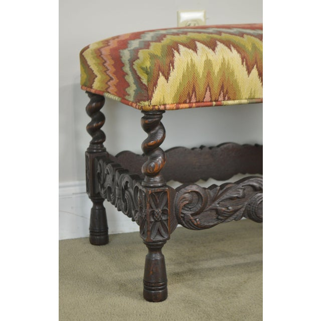 Antique Carved Oak Jacobean Style Small Bench or Stool For Sale - Image 10 of 13