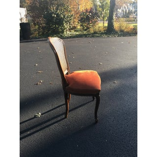1970s Vintage French Provincial Cane Accent Chair With Burnt Orange Suede Upholstery Preview