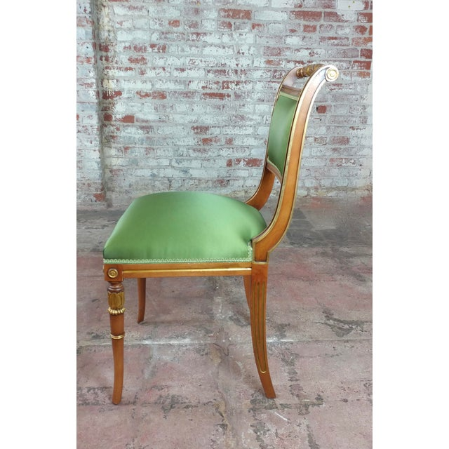 English Regency Parcel Gilt W/Satin Green Upholstery Dining Chairs -Set of 10 - Image 6 of 8