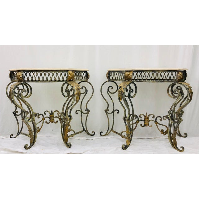 French Pair Vintage Wrought Iron & Stone Side Tables For Sale - Image 3 of 11