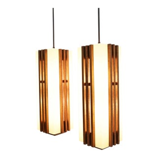 Large Frank Lloyd Wright or Mission Style Pendant Lights - A Pair