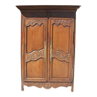 18th Century French Louis XV Solid Oak Armoire For Sale