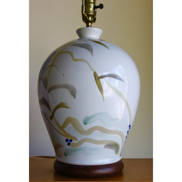 Vintage Hand Painted Japanese Style Glenn Burris Studio Handmade Pottery Lamp For Sale In San Diego - Image 6 of 10