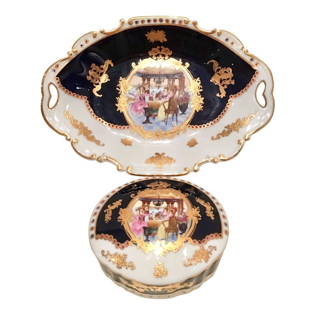 20th C. French Sevres Limoges Style Cobalt & Gold Tray & Box - Image 1 of 11