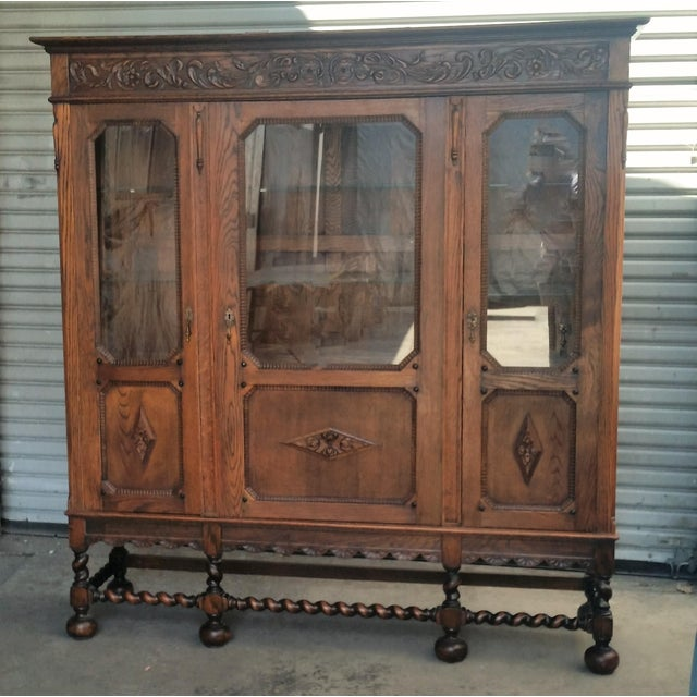 Antique Oak Barley Twist Bookcase Display China Cabinet / Bookcase Hutch For Sale - Image 12 of 12