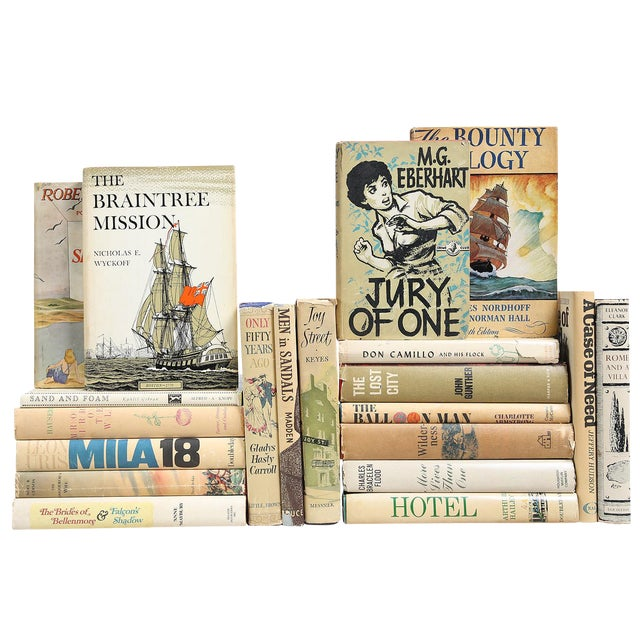Mid-Century Muted Dustjacket Mix - Set of 20 For Sale