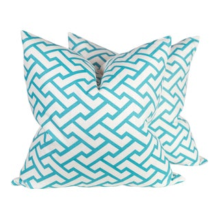 China Seas Teal Pillows - A Pair For Sale