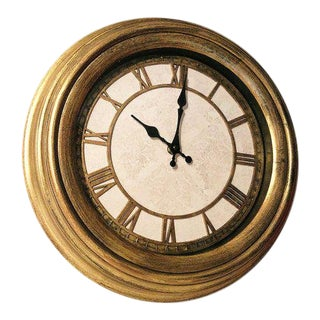Antique Gold Leaf Finished Wall Clock For Sale