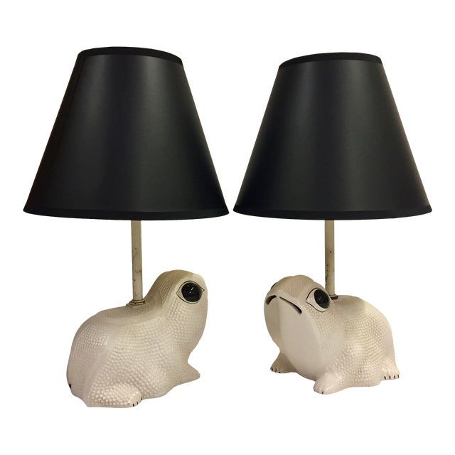 Vintage Italian White Ceramic Hobnail Frog Lamp With Shades - a Pair For Sale