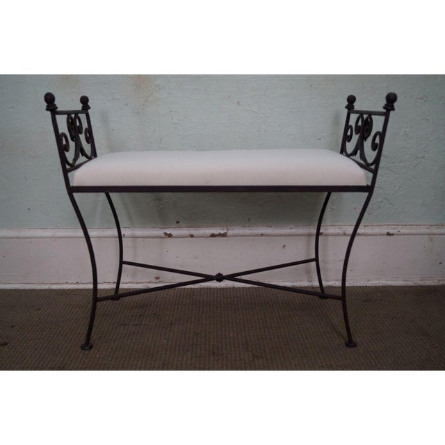 Store Item #: 14810 Black Iron Frame Regency Style Bench AGE/COUNTRY OF ORIGIN: Approx 25 years, America...