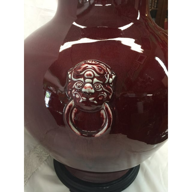 "Asian Chinese Oxblood Vase 23"" For Sale - Image 3 of 8"