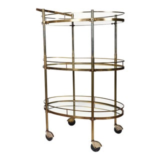 Vintage Three-Tiered Mirrored Shelves Wheeled Bar Cart For Sale