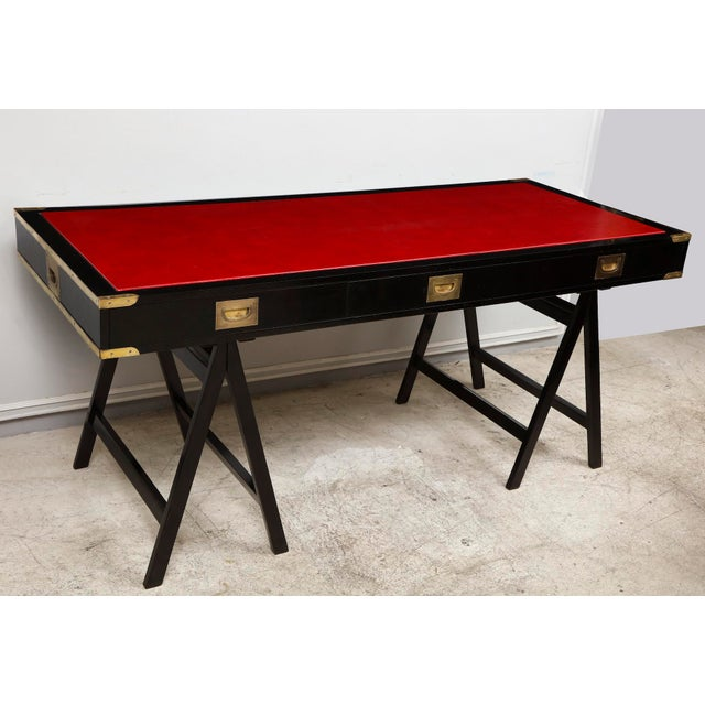 Gold French Ebonized Campaign Desk Red Leather Top And Applied Brass For Sale - Image 8 of 8