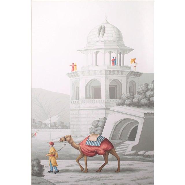 Asian Jardins en Fleur 'Ancient Scenes of India' by SImon Paul Scott Triptych Painting - 3 Pieces For Sale - Image 3 of 7