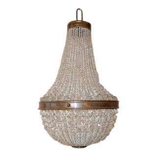 1930, French Petit Crystal Beaded Empire Dome Chandelier For Sale