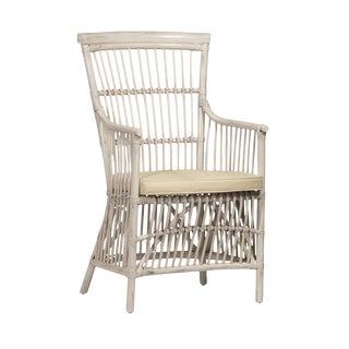 White Wash Rattan Armchair