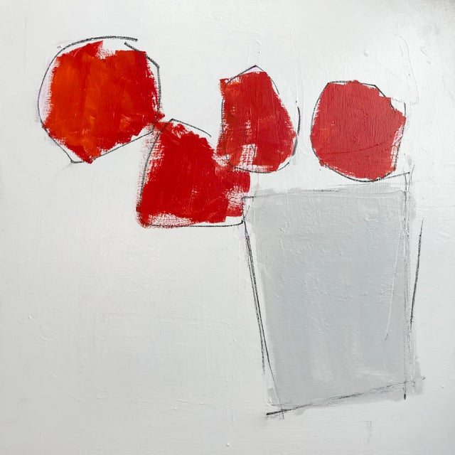 24 x 24 x .75. Acylic and graphite on canvas. Simple red and grey shapes on a white background suggest a container of...