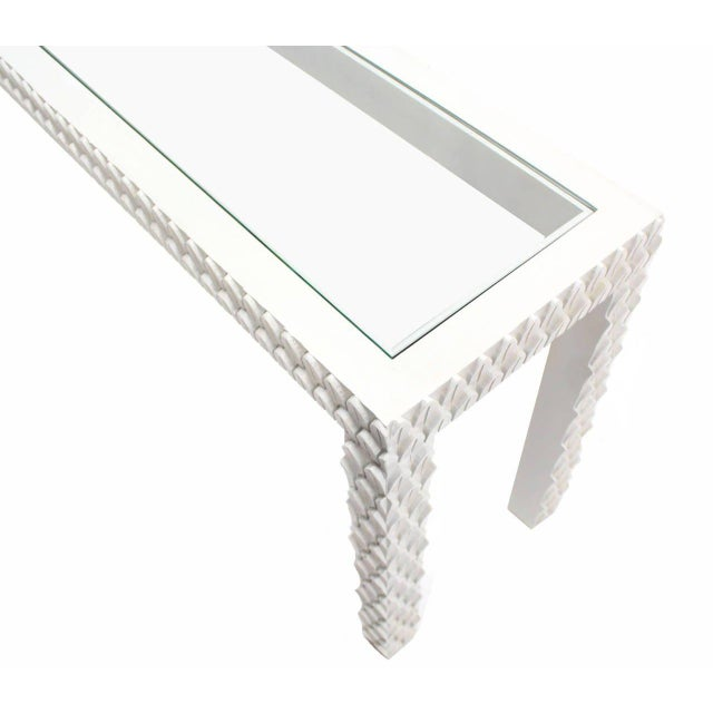 Vintage Mid Century Pineapple Pattern Carved White Lacquer Console Table For Sale - Image 6 of 10
