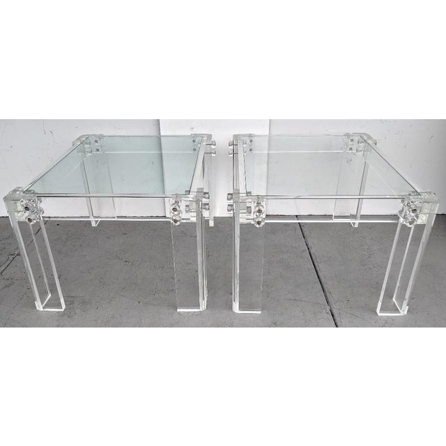 Industrial Mid-Century Modern Lucite Side/Cocktail Tables With Glass Tops - a Pair For Sale - Image 3 of 12