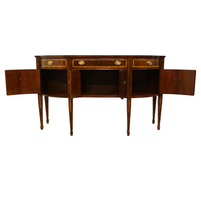 Late 20th Century 20th Century Hepplewhite Thomasville Furniture Mahogany Collection Demilune Sideboard/Buffet For Sale - Image 5 of 13