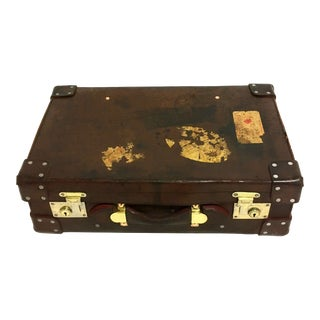 Antique English Leather Suitcase For Sale