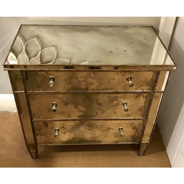 Contemporary Century Furniture Modern Mirror Bedside Chest of Drawers For Sale - Image 3 of 7