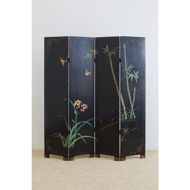 Chinese Four-Panel Coromandel Screen of Cranes For Sale - Image 12 of 13