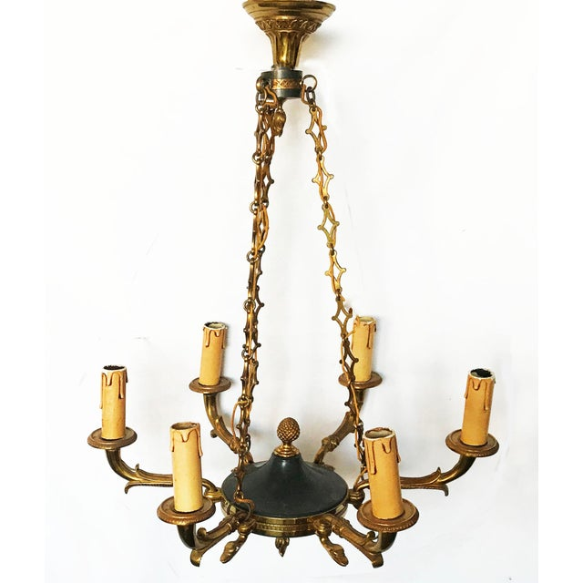 Green Vintage First French EmpireStyle Chandelier For Sale - Image 8 of 8