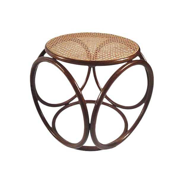 1960s Bentwood Rattan Footstool For Sale