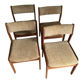 Vintage Mid Century Modern Danish Dining Chairs by Domus Damica- Set of 4