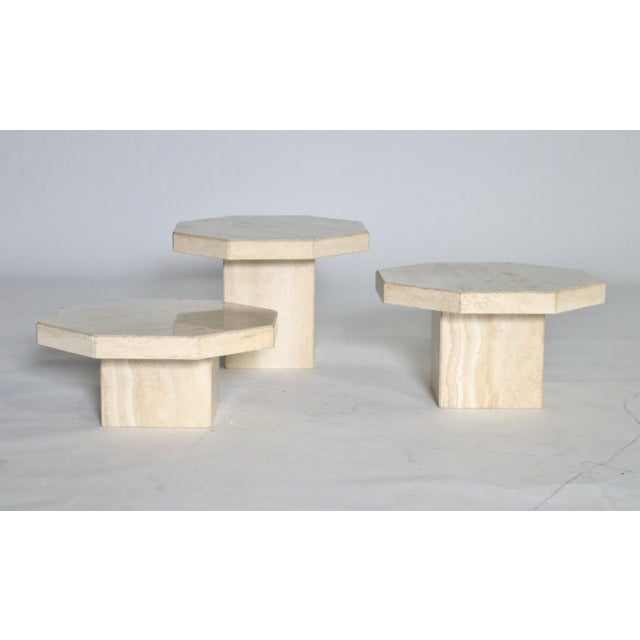 Trio of Travertine Tables With Hexagon Shape-Tops For Sale - Image 9 of 9