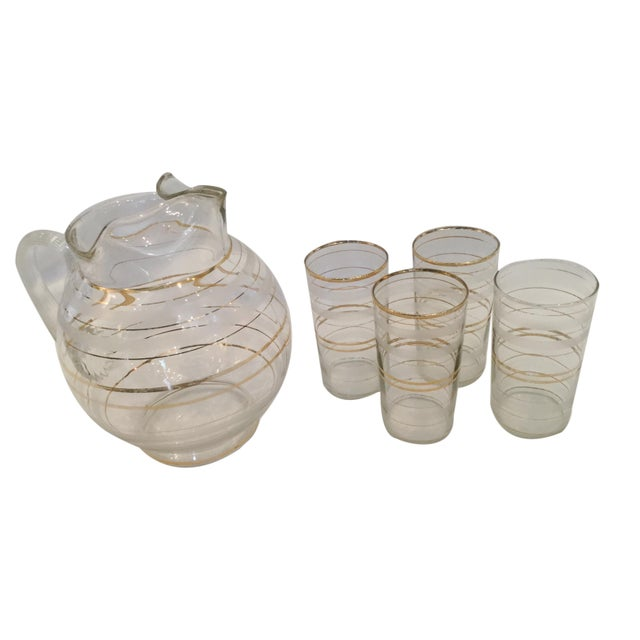 Set of 4 Vintage Tumblers and Pitcher For Sale - Image 4 of 4