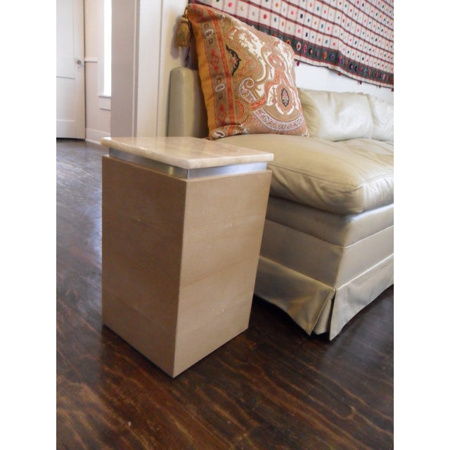 This is a pair of exquisite accent tables covered in shaved and polished art deco-esque finished shagreen with a 1 inch...