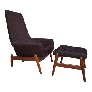 1970s Vintage Madsen & Schubell Chair and Ottoman For Sale