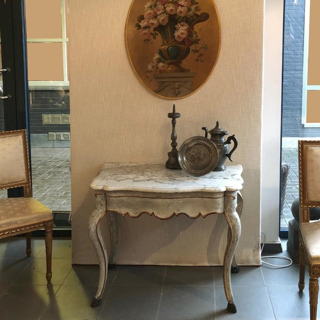 19th Century Swedish Painted Marble Top Console For Sale - Image 4 of 13