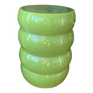 Green Ceramic Modern Ribbed Garden Stool Table For Sale