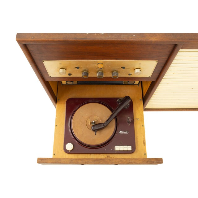 Brown Jens Risom Mid Century Walnut Tambour Door Stereo Console Credenza For Sale - Image 8 of 9