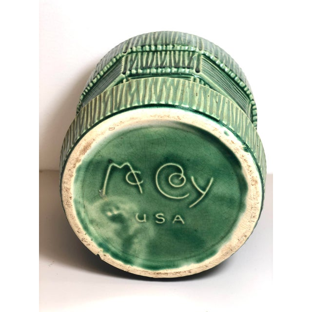 """McCoy Pottery 1940s – 1960s Large"""" Green"""" Mid-Century Flowerpot and Saucer For Sale - Image 4 of 10"""