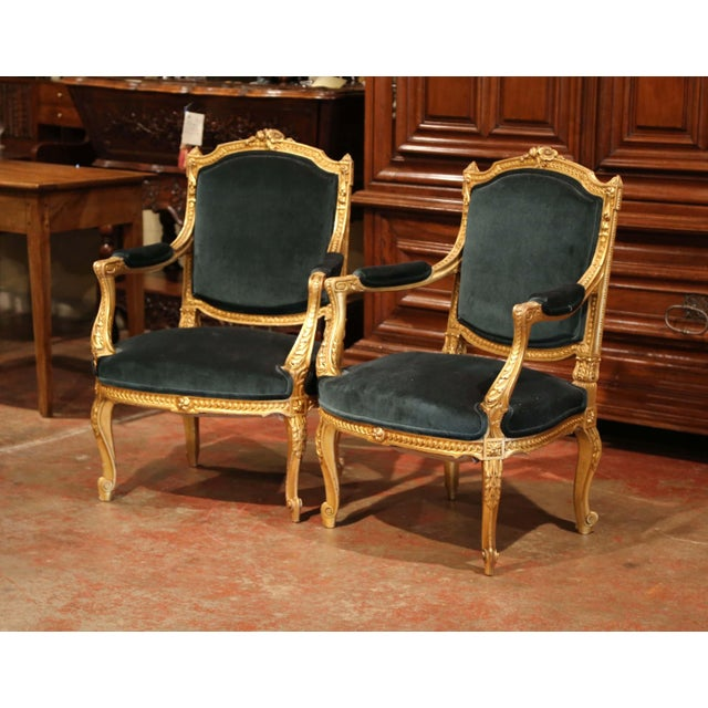 Place these elegant antique bergeres in a living room or a study. Crafted in France circa 1870, each traditional, French...