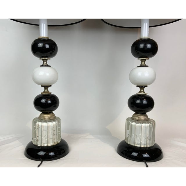 1940s Hollywood Regency Black & White Lamps - a Pair For Sale - Image 9 of 13