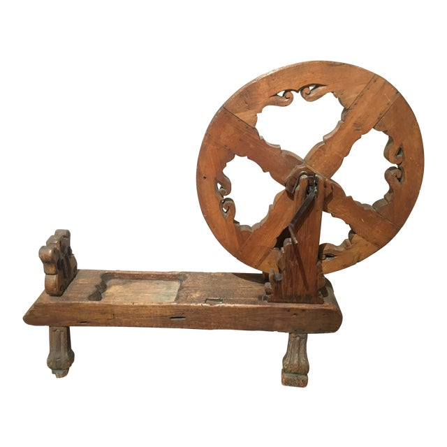 Antique Pine Spinning Wheel For Sale