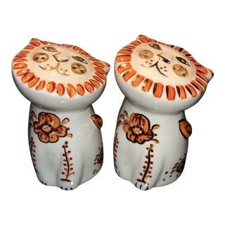 Vintage Mid Century Lion Salt and Pepper Shakers - a Pair For Sale