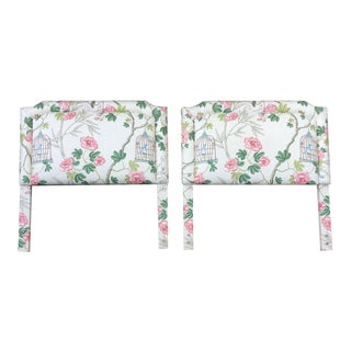 Floral Upholstered Twin Headboards - a Pair